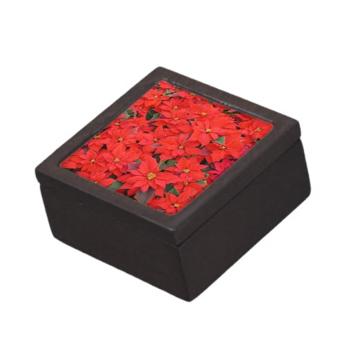 Red Poinsettias I Christmas Holiday Floral Photo Gift Box
