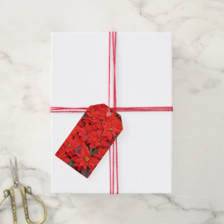 Red Poinsettias I Christmas Holiday Floral Photo Gift Tags