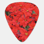 Red Poinsettias I Christmas Holiday Floral Photo Guitar Pick