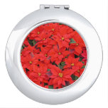 Red Poinsettias I Christmas Holiday Floral Photo Makeup Mirror