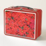 Red Poinsettias I Christmas Holiday Floral Photo Metal Lunch Box