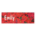 Red Poinsettias I Christmas Holiday Floral Photo Name Tag