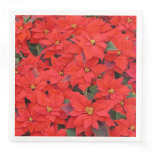 Red Poinsettias I Christmas Holiday Floral Photo Paper Dinner Napkin