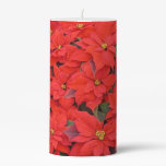 Red Poinsettias I Christmas Holiday Floral Photo Pillar Candle