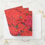 Red Poinsettias I Christmas Holiday Floral Photo Pocket Folder