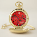 Red Poinsettias I Christmas Holiday Floral Photo Pocket Watch