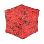 Red Poinsettias I Christmas Holiday Floral Photo Pouf