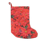 Red Poinsettias I Christmas Holiday Floral Photo Small Christmas Stocking