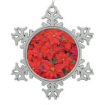 Red Poinsettias I Christmas Holiday Floral Photo Snowflake Pewter Christmas Ornament