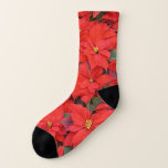 Red Poinsettias I Christmas Holiday Floral Photo Socks