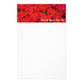 Red Poinsettias I Christmas Holiday Floral Photo Stationery