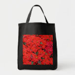 Red Poinsettias I Christmas Holiday Floral Photo Tote Bag