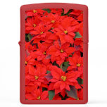 Red Poinsettias I Christmas Holiday Floral Photo Zippo Lighter