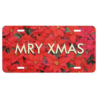 "Red Poinsettias I ""MRY XMAS"" Christmas Holiday License Plate"