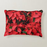 Red Poinsettias II Pretty Christmas Holiday Floral Accent Pillow