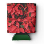 Red Poinsettias II Pretty Christmas Holiday Floral Can Cooler