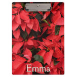Red Poinsettias II Pretty Christmas Holiday Floral Clipboard