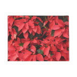 Red Poinsettias II Pretty Christmas Holiday Floral Doormat