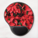 Red Poinsettias II Pretty Christmas Holiday Floral Gel Mouse Pad