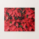 Red Poinsettias II Pretty Christmas Holiday Floral Jigsaw Puzzle