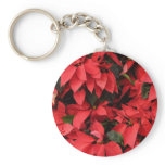 Red Poinsettias II Pretty Christmas Holiday Floral Keychain