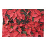 Red Poinsettias II Pretty Christmas Holiday Floral Kitchen Towel