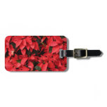 Red Poinsettias II Pretty Christmas Holiday Floral Luggage Tag