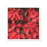Red Poinsettias II Pretty Christmas Holiday Floral Napkin