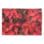 Red Poinsettias II Pretty Christmas Holiday Floral Pillow Case