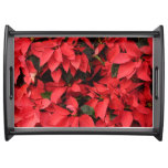 Red Poinsettias II Pretty Christmas Holiday Floral Serving Tray