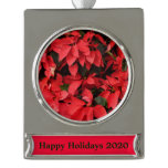 Red Poinsettias II Pretty Christmas Holiday Floral Silver Plated Banner Ornament