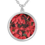 Red Poinsettias II Pretty Christmas Holiday Floral Silver Plated Necklace