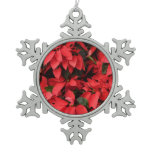 Red Poinsettias II Pretty Christmas Holiday Floral Snowflake Pewter Christmas Ornament