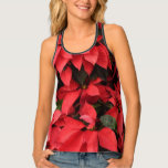 Red Poinsettias II Pretty Christmas Holiday Floral Tank Top
