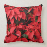 Red Poinsettias II Pretty Christmas Holiday Floral Throw Pillow