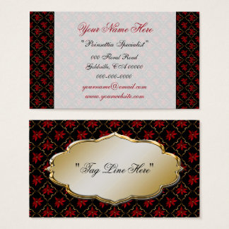 Red Poinsettias on Black Business Card