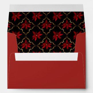 Red Poinsettias on Black Envelope