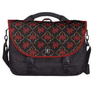 Red Poinsettias on Black Bag For Laptop
