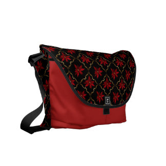 Red Poinsettias on Black Courier Bags
