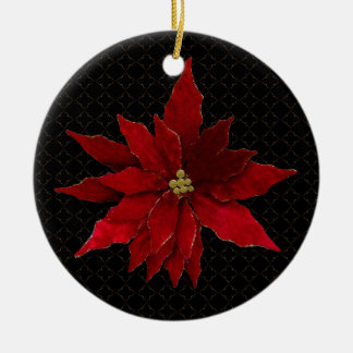 Red Poinsettias on Black Christmas Ornament