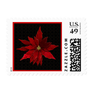 Red Poinsettias on Black Postage Stamp