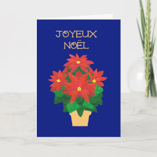 French language christmas cards zazzle red poinsettias on blue french language greeting holiday card m4hsunfo