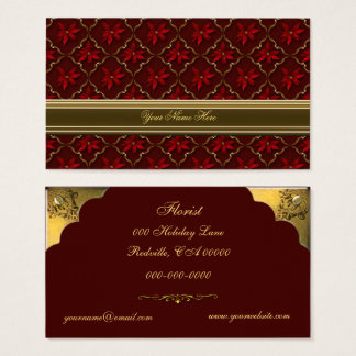 Red Poinsettias on Burgundy Business Card