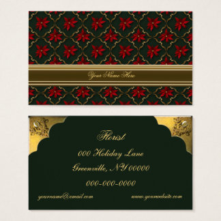 Red Poinsettias on Green Business Card