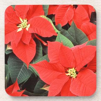 Red Poinsettias Set of Cork Coasters