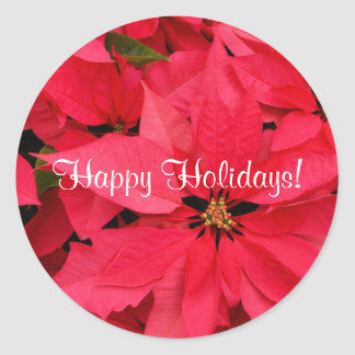 Red Poinsettias Small Happy Holidays Stickers