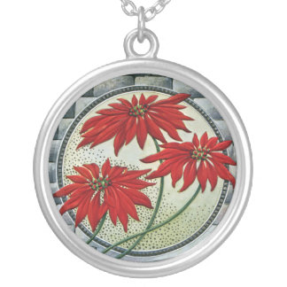 Red Poinsettias Vintage Holiday Round Pendant Necklace
