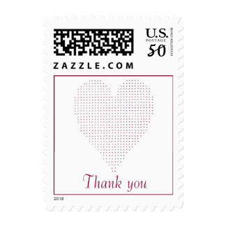 Red Pointillism heart postage stamps, Thank you