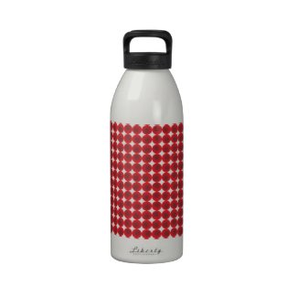 Red points and circles water bottles