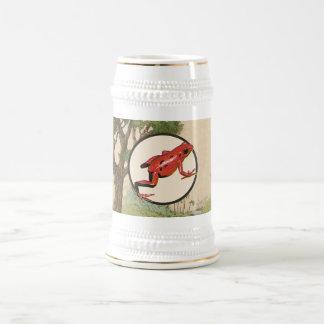 Red Poison Dart Frog Natural Habitat Illustration Beer Stein